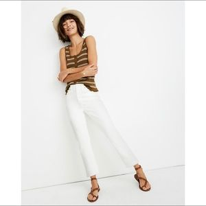 madewell / high rise slim crop boyjean jeans white